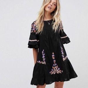 Free People Pavlo Black Embroidered Dress